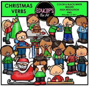 Christmas Verbs Clip Art Bundle {Educlips Clipart}