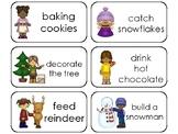 Christmas Verbs Printable Flashcards. Preschool-1st Grade ELA.