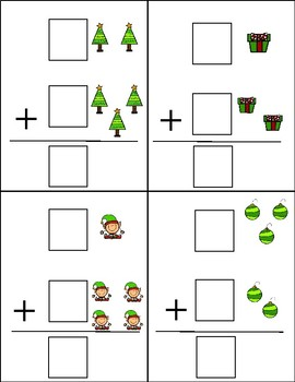 Christmas Vertical Addition Dry Erase Cards