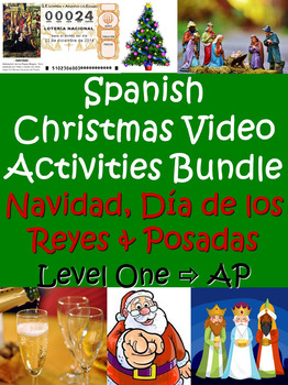 Christmas Video Activities Bundle in Spanish for Beginning - Advanced Students