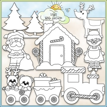 Christmas Village Clip Art - Santa Claus Clip Art - CU Clip Art & B&W