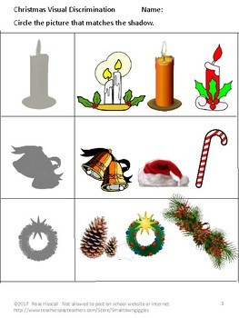 Christmas Visual Discrimination Early Childhood, Special Education, Autism