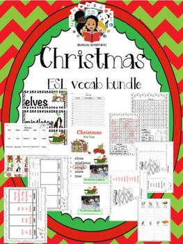 Christmas Vocab Bundle and Literacy Centers - ESL
