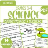 Life Science Reading Comprehension Passages & Questions   Bundle   Grade 3-4