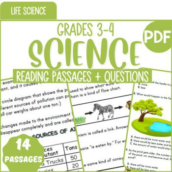 Life Science Reading Comprehension Passages & Questions | Bundle | Grade 3-4