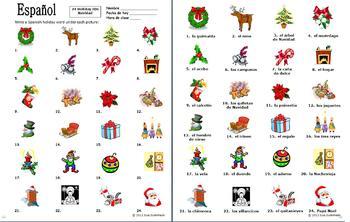 Spanish Christmas Vocabulary 24 Image IDs - Navidad