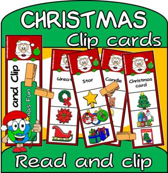 Christmas Vocabulary Clip Cards