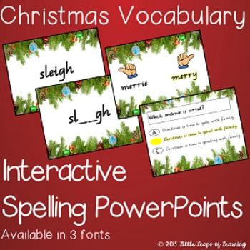 Christmas Vocabulary: Interactive Spelling PowerPoint (QLD Font)