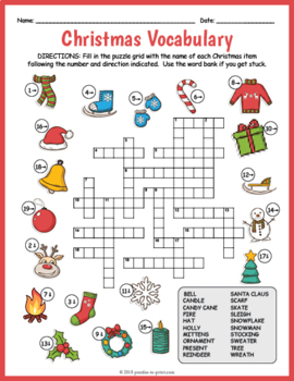 Free Christmas Crossword Puzzle Worksheet By Puzzles To Print Tpt