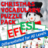 Christmas Vocabulary Puzzle Pack ESL ENL EFL Newcomer Intermediate
