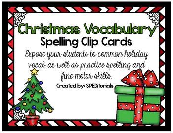 Christmas Vocabulary Spelling Clip Cards FREEBIE
