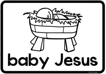 Christmas Vocabulary Word Wall Cards (set of 32) - Black & White Version
