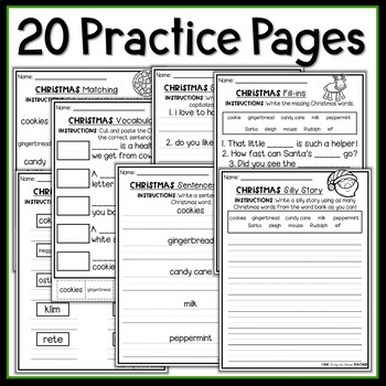 Christmas Vocabulary and ELA NO PREP Worksheets