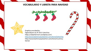 Navidad-Christmas Vocabulary and Flap Book Beginning Spanish