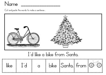 Christmas Vocabulary sentence making packet