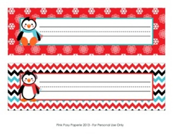 Christmas Winter Penguin Desk Name Plates By Pink Posy