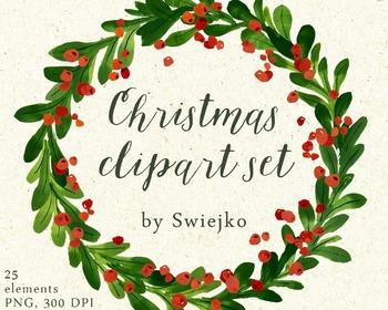 Christmas Watercolor Clipart Holiday Wreath Mistletoe By Swiejko