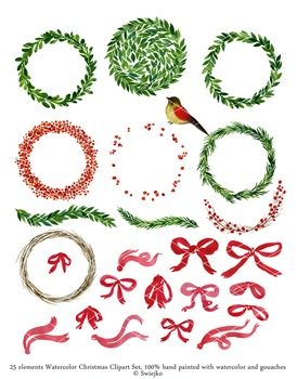 Christmas Watercolor Clipart, holiday wreath, mistletoe