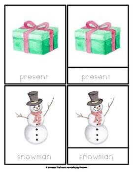 Christmas Watercolor Montessori 3-Part Cards