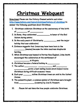 Christmas Webquest