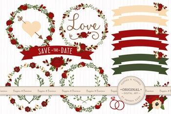 Christmas Wedding Floral Clipart & Vectors - Flower Clip Art, Banners