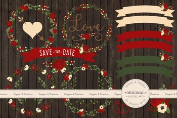 Christmas Wedding Floral Clipart & Vectors - Flower Clip Art, Banners