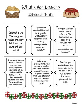 Christmas: What's for Dinner? Ready-to-Go Authentic Math Task Common Core