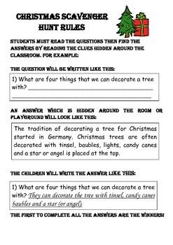 Christmas Facts Reading Comprehension Scavenger Hunt + Game