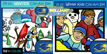 Christmas/Winter BUNDLE- Objects & Kids COMBO 112 Pieces (Color and BW Clip-Art)