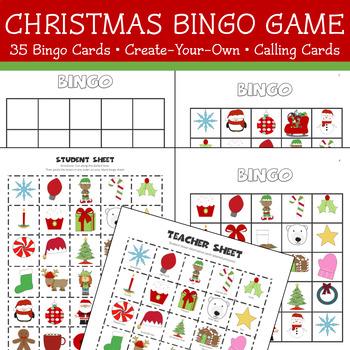 Christmas Bingo.Christmas Bingo Game 35 Cards Create Your Own