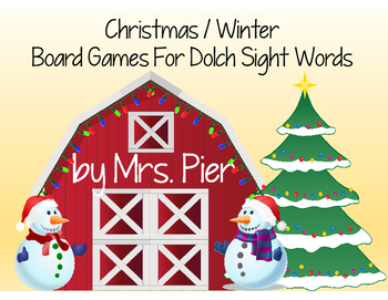 Christmas / Winter  Board Games For Dolch Sight Words