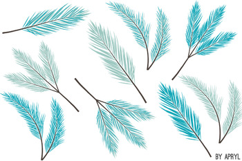 Christmas Winter Branches and Berries Clip Art Blue Coral Holiday Commercial Use