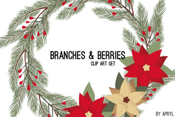 Christmas Winter Branches and Berries Clip Art Red Green Holiday Commercial Use