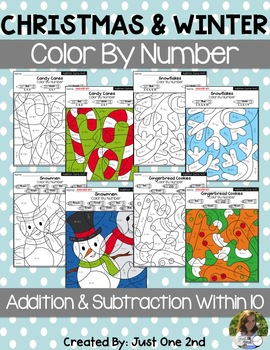 Christmas & Winter Color By Code/Color By Number: Add & Subtract within 10