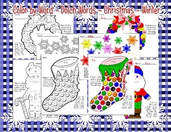 Christmas * Winter * Color by Dolch Word/Color Word