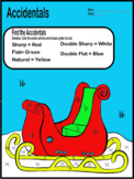 Christmas/Winter Color by Music Sleigh Worksheet (Accidentals)