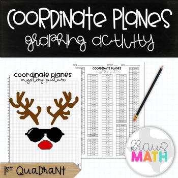 Coordinate Plane Graphing Activity: Christmas Reindeer in Aviators!