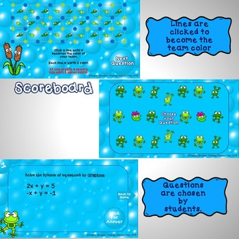 Interactive Game:  Algebra Solving Systems of Equations 3 seasonal versions