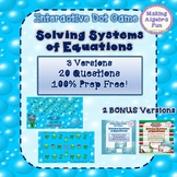 Interactive Game:  Algebra Solving Systems of Equations 3