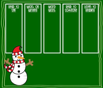 Christmas Winter Daily 5 Check-in for Smart Board