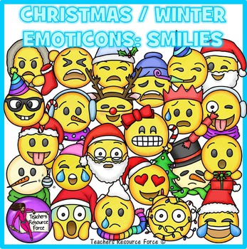 Christmas / Winter Emoji Clip Art: Smiley Faces Emoticons Clipart