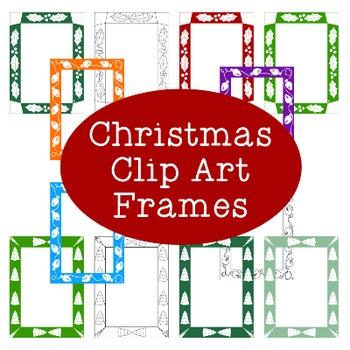 Christmas Winter Frames Clip Art PNG JPG Blackline Commercial or Personal