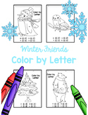 Winter Activity Color By Letter Coloring Pages