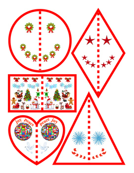 Christmas Winter Halves Shapes Circle Rhombus Rectangle Triangle Heart Match 1pg