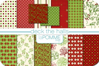 Christmas Winter Holiday Deck the Halls Digital Paper Pack
