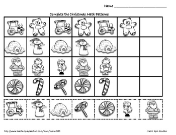 Christmas Winter Holiday Math Patterns by Susie | TpT