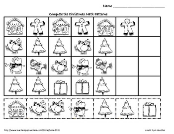 christmas winter holiday math patterns by susie tpt. Black Bedroom Furniture Sets. Home Design Ideas