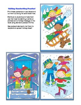 Christmas Winter Holiday Postcard Template Grades K-3