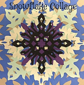 Christmas Winter Holiday Snowflake Collage Step by Step Lesson