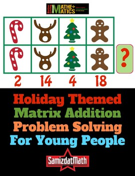 Christmas/Winter Holiday Themed Matrix Addition Puzzle